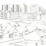 Un dessin qui représente la ville ukrainienne de Slavoutytch